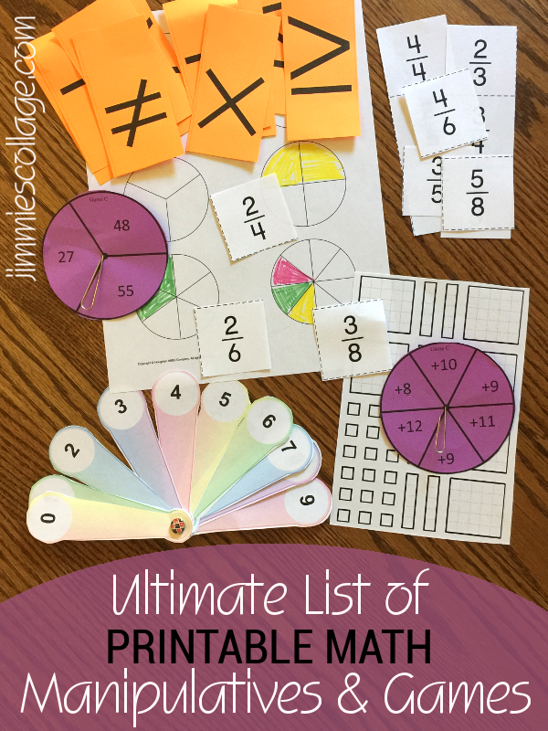 Ultimate List of Printable Math Manipulatives & Games for Homeschool