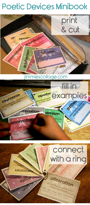 Poetic Devices Minibook for Homeschool Language Arts @jimmielanley Jimmie's Collage