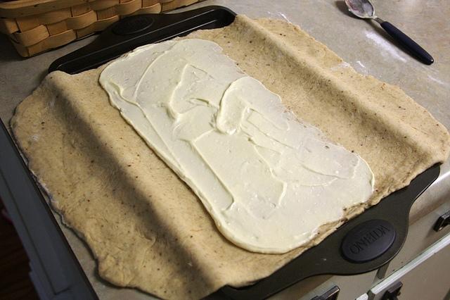 Homemade Apricot  Yeasted Coffeecake spread cream cheese