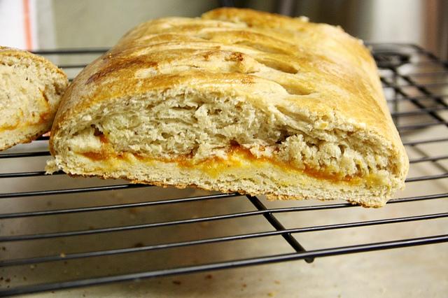 Homemade Apricot  Yeasted Coffeecake sliced