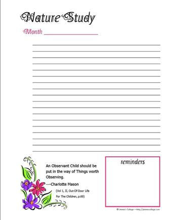 Free Nature Planning Pages