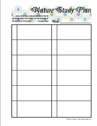 free printable nature study planner