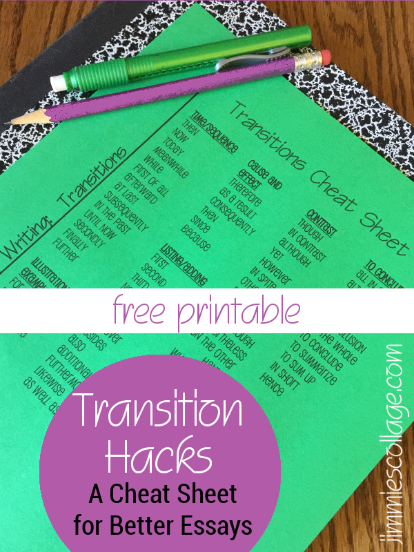 hacks a cheat sheet for better essays transition hacks a cheat sheet for better essays