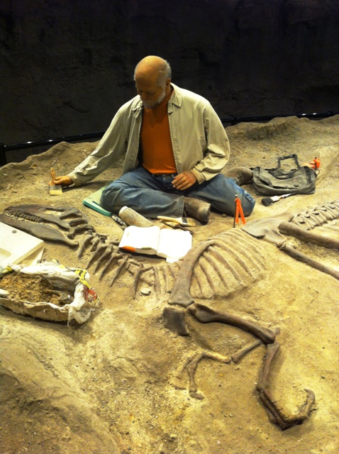 exhibit of a paleontologist at the Creation Museum