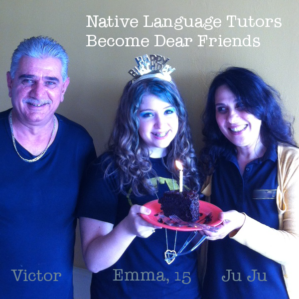 Ju Ju, Victor, and Emma Arabic lessons on her birthday
