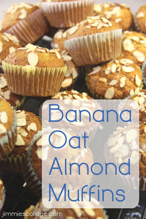 Banana Oat Almond Muffins with Coconut Oil