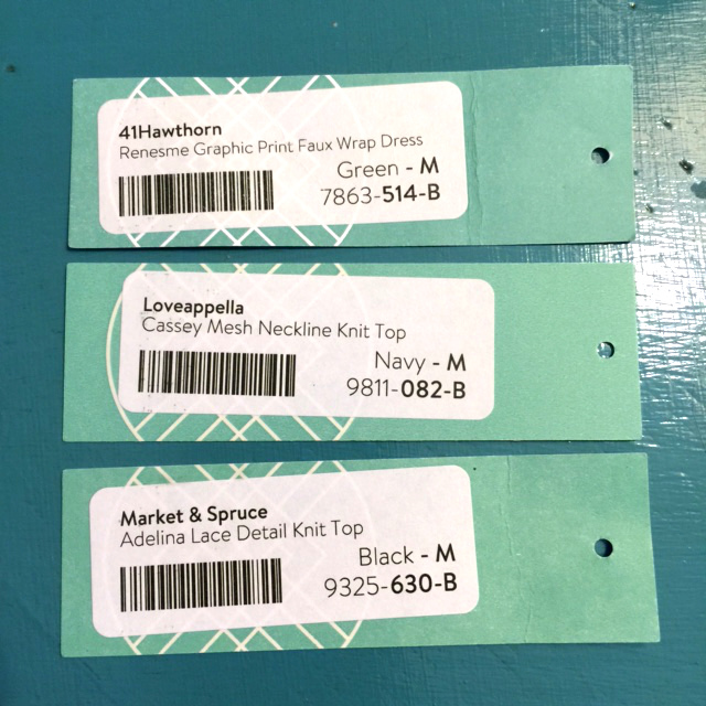 keeper tags from my first StitchFix