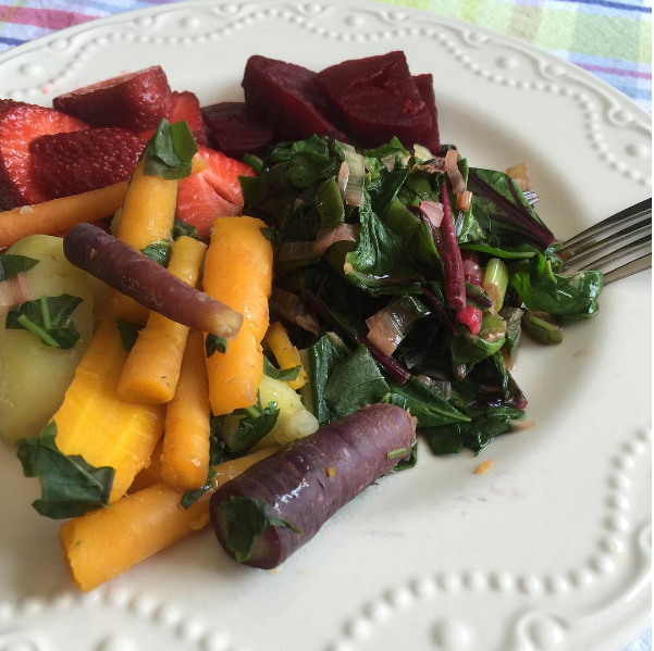 delicious meal of beets, beet greens, strawberries, and carrots, all from my CSA share that week