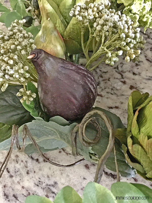 wreath detail on silk wreath with figs and artichokes • sponsored: Artichoke Floral Wreath from Silk Plants Direct • kitchen decor